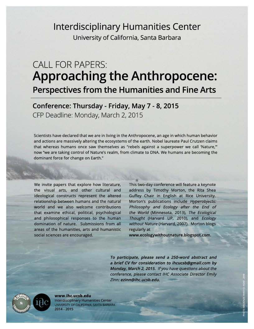 Call for Papers: Approaching the Anthropocene: Perspectives from the